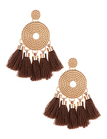 Fashion Brown Round Shape Decorated Tassel Earrings