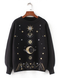 Fashion Black Star Pattern Decorated Sweater