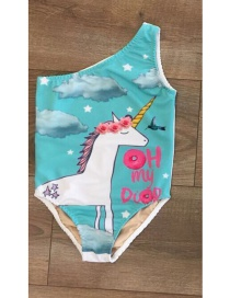 Lovely Blue Unicorn Pattern Decorated Swimwear