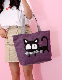 Fashion Purple Cat Pattern Decorated Bag