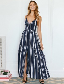 Fashion Blue Stripe Pattern Decorated Dress