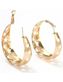Fashion Rose Gold Hollow Out Design Star Shape Earrings