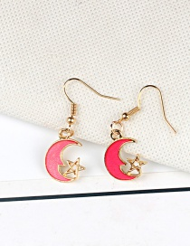Fashion Gold Color+red Moon&star Shape Decorated Earrings