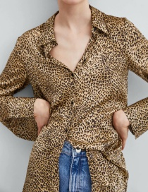 Fashion Brown Leopard Pattern Decorated Shirt