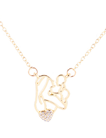 Fashion White Diamond Decorated Hollow Out Necklace