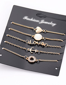 Fashion Gold Color Letter Shape Decorated Bracelet (5pcs)
