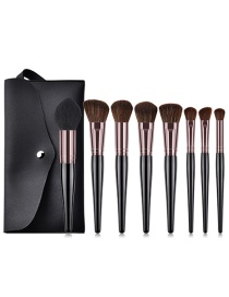 Fashion Black+brown Flame Shape Design Cosmetic Brush(8pcs With Bag)