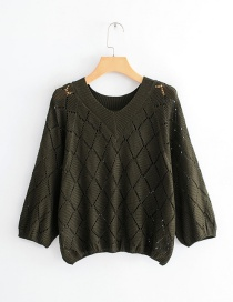 Fashion Dark Green Hollow Out Design Bats Sleeves Sweater