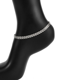 Elegant Silver Color V Shape Decorated Pure Color Anklet