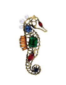 Elegant Blue+green Hippocampus Shape Design Hollow Out Brooch