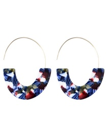 Elegant Red+sapphire Blue U Shape Design Color Matching Earrings