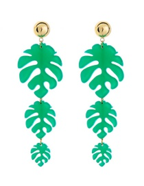 Elegant Green Palm Leaf Shape Decorated Long Earrings