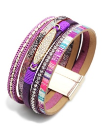 Vintage Purple Multi-layer Design Magnetic Bracelet