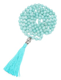 Fashion Pale Blue Buddha&tassel Decorated Long Necklace