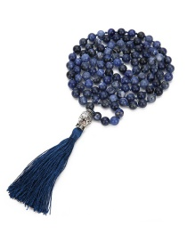Fashion Navy Buddha Decorated Tassel Necklace