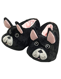 Lovely Black Dog Shape Design Thickened Shoes(for Adult)