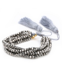 Fashion Silver Color+gray Tassel&beads Decorated Simple Bracelet