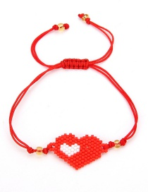 Fashion Red Pure Color Design Heart Shape Bracelet