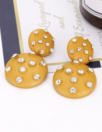 Elegant Yellow Double Round Shape Design Pure Color Earrings(small)