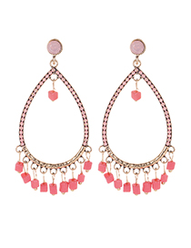 Fashion Pink Waterdrop Shape Design Pure Color Earrings