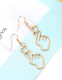 Sweet Gold Color Gesture Shape Design Pure Color Earrings