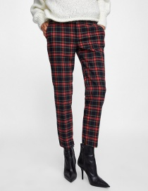 Sweet Red Grid Pattern Decorated Simple Pants