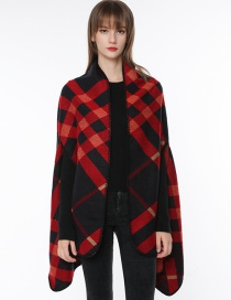 Fashion Red Grid Pattern Decorated Scarf