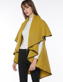Fashion Yellow Pure Color Decorated Cloak