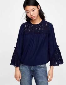 Fashion Navy Hollow Out Design Pure Color Blouse