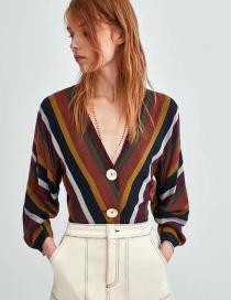 Fashion Multi-color V Neckline Design Stripe Pattern Blouse