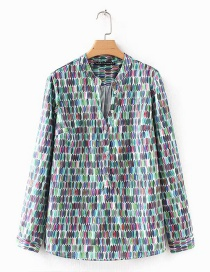 Fashion Multi-color Oval Pattern Decorated Shirt