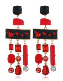 Fashion Red Geometric Shape Decorated Tassel Earrings