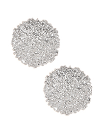 Fashion Silver Color Pure Color Decorated Round Earrings