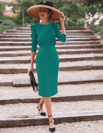 Fashion Green Pure Color Decorated Dress
