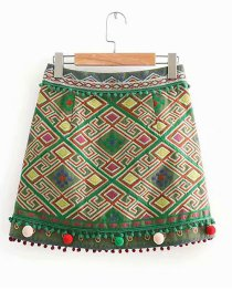 Fashion Green Pom Ball Decorated Embroidery Skirt
