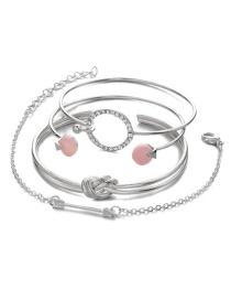 Fashion Silver Color Circular Ring Shape Decorated Bracelet (4 Pcs )