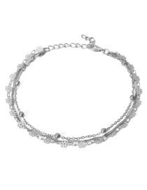 Fashion Silver Color Pure Color Decorated Multi-layer Anklet