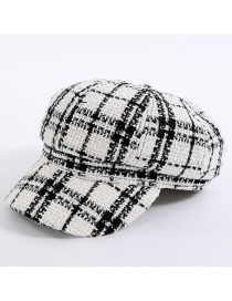 Simple White Grid Pattern Decorated Hat