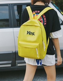 Fashion Yellow Letter Pattern Decorated Backpack