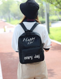Simple Black Letter Pattern Decorated Backpack