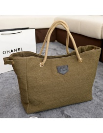 Simple Khaki Pure Color Decorated Handbag