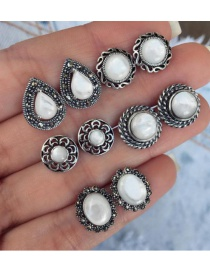 Fashion White Round Shape Decorated Earrings (10 Pcs )