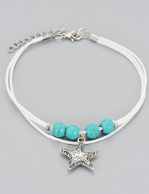 Fashion Silver Color Starfish Shape Decorated Anklets