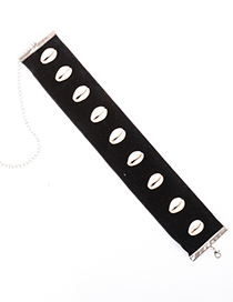 Fashion Black+white Shell Decorated Pure Color Choker