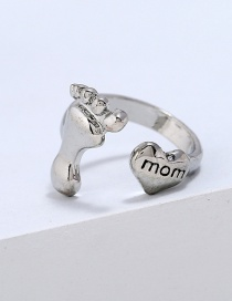 Simple Silver Color Foot&heart Shape Decorated Pure Color Ring