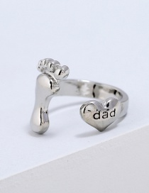 Fashion Silver Color Foot Shape Decorated Pure Color Ring
