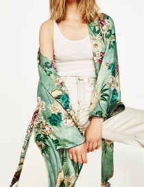 Fashion Green Flower Pattern Decorated Coat