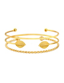 Fashion Gold Color Leaf Shape Decorated Bracelet ( 3 Pcs )