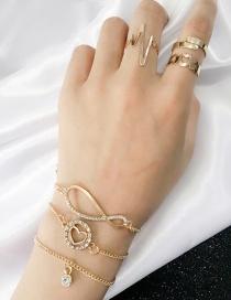 Fashion Gold Color Heart Shape Decorated Bracelet&ring (6 Pcs )