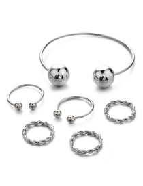 Fashion Silver Color Pure Color Decorated Bracelet&ring ( 6 Pcs )